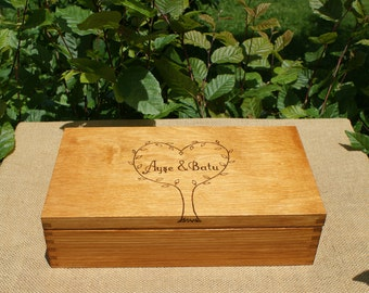 personalized gift, made to order, personalized box, custom tea box, wooden box, wedding box, wood burned box, pyrography box