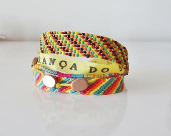 Bracelet Brazilian multi strand yellow and multicolor - manufacturing France
