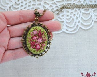 rose necklace victorian necklace embroidered jewelry hand embroidery gift for women rose jewelry gift for mom nature jewelry gift for wife