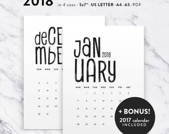 Printable Calendar 2018, Modern Typographic Calendar Planner 2018 PDF, A4 UsLetter A5 Calendar Printable Wall Calendar, Instant Download