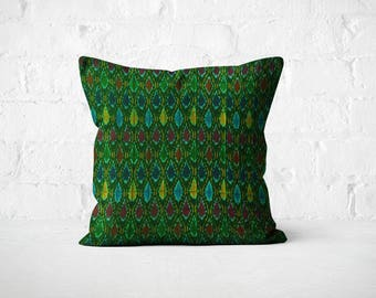 Ikat Pillow/ Boho bed décor/ 18X18 Green Pillow Cover/ Green Cushion/ Bohemian cushion/ Decorative Throw Pillow/ Girls room décor pillow