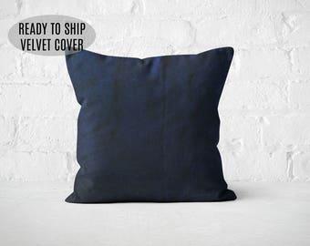 Navy Blue Throw Pillow, Navy Velvet Pillow Covers, Decorative Pillow, Velvet Cushion Cover, Modern living room design, Accent Pillow