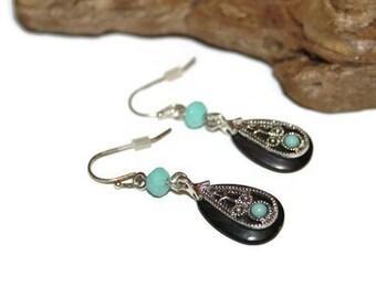 Southwestern Earrings, Black Silver and Turquoise Earrings, Teardrop Earrings, Teardrop Jewelry, Boho Earrings, Boho Jewelry, Bohemian
