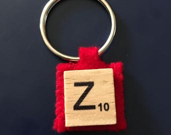 Scrabble letter keyring with red felt backing