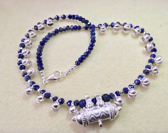 Handmade Lapis Lazuli & Sterling Silver necklace, adorned with a Sterling Silver Kavach pendant, that opens to seal in anything you desirer