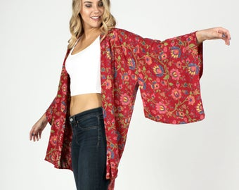 Kimono, Boho Kimono, Bohemian, Kimono Cardigan, Music Festival Clothing, Coverup, Floral Kimono, Coachella Clothing, Swimsuit Coverup