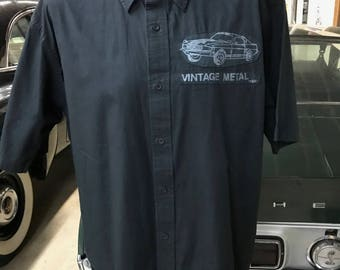 "Muscle Car Men's Shirt By Maria B. Hand Drawn Screen Print ""VINTAGE METAL"" Shelby Mustang & Olds 442 Classic Car Shirt. Size XL. Sale."