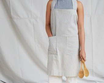 Cotton ticking Japanese style, cross back apron. No ties, loose fitting design.
