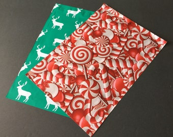 100 Designer 10x13 DEER and CANDY CANES Poly Mailers 50 each Envelopes Shipping Bags Christmas