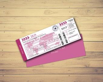 Destination Wedding Invitation, Boarding Pass Save the Date, Wedding Invitation Template, Wedding Invitation Ticket, Instant Download