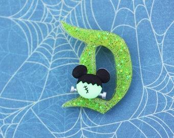 Disney D Pin - Green Frankenstein Mickey Classic Disney D Pin - Halloween Disney D Brooch -  Halloween Mickey Disney D Brooch