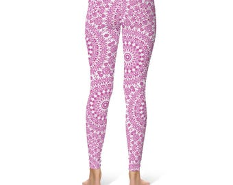 Fitness Leggings - Magenta Yoga Leggings, Fuchsia Leggings, Hot Pink and White Printed Leggings