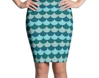 Blue Mermaid Skirt, Ocean Blues Pencil Skirt, Stretchy Mermaid Scales Patterned Skirt, Women's Knee Length Skirt