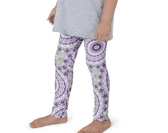 Girls Funky Leggings, Wild and Fun Kids Leggings, Purple and Green Children's Yoga Pants