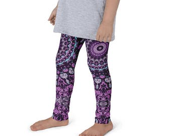 Kids Leggings, Fun Leggings for Girls, Children's Printed Yoga Pants, Mandala Design