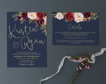 Wedding Invitation | Printable Wedding Invitation | Wedding invitations | Navy Gold Marsala Wedding | Wedding Invites | Lucy Suite