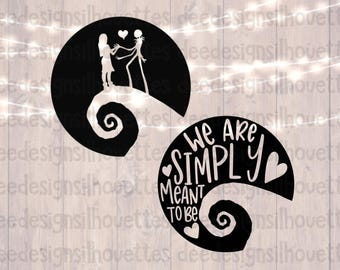 Nightmare Before Christmas Sally and Jack We Are Simply Meant To Be SVG cut file