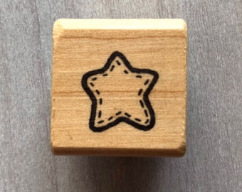 Tiny Stitched Star Rubber Stamp
