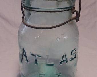 Atlas canning jar/vintage canning  jar/blue glass canning jar