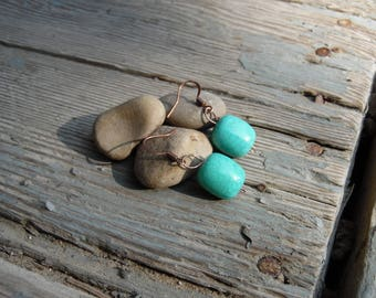 Copper Earrings with Turquoise Bead