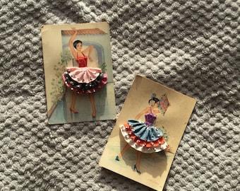 Vintage 1950s Set Of Two Flamenco Dancers 3D Collectable Postcards