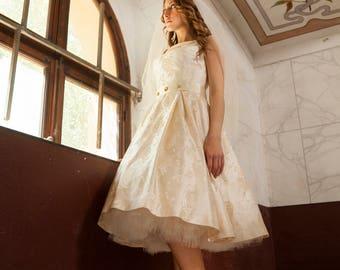 Tea Length Wedding Dress, Audrey Hepburn Wedding Dress, 1950s Wedding Dress, Simple Wedding Dress, Vintage Inspired Wedding Dress