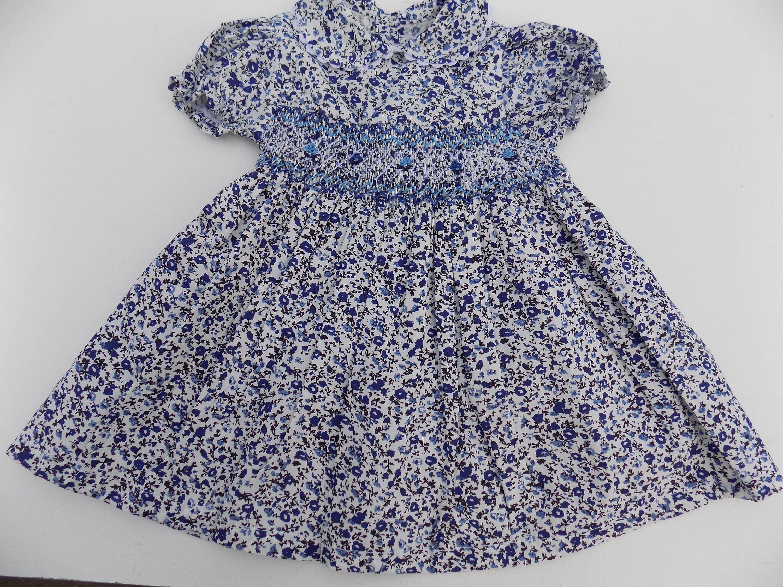 Smocked dress baby dress flowers girl dress cotton liberty