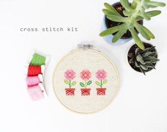 Potted Flowers - Modern DIY Cross Stitch Kit - Beginners Cross Stitch Kit