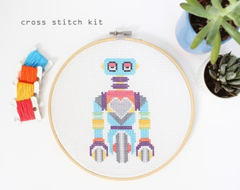 Wheelie Bot - Modern counted cross stitch kit- Easy Beginner DIY cross stitch kit - Robot cross stitch pattern - Kids cross stitch kit