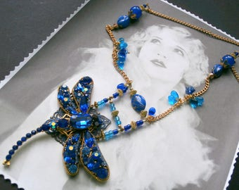 Vintage Art Deco, GATSBY necklace Blue Crystal for wedding