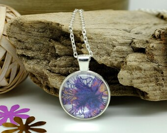 Iris Flower Jewelry, Purple Necklace, February Birthday, Handcrafted Jewelry, Circle Necklace, Flower Necklace, Gifts for Her