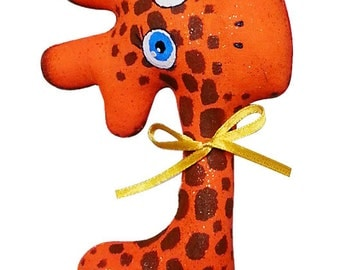 Art&Craft set for painting DIY Kit giraffe Glazastik ready for painting blanking of soft toy -6 colors fabric- pencil brush sponge gel pen