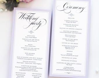 Taylor Lavender Modern Wedding Program, Calligraphy Elegant Font, Wedding Program Template or Printed Programs, Double Sided or Folded
