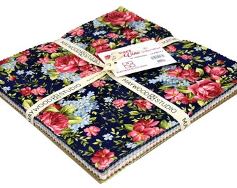 """Roses on the Vine - Layer Cake - 2nd shipment!  - Maywood Studio - (42) 10"""" Squares by Marti Michell"""