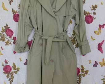 Vintage 1980s beige androgynous double breasted trench mac camel duster 10