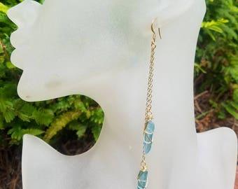 Aqua Aura Earrings, Gold