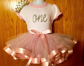 First Birthday Outfit with Tiara Headband
