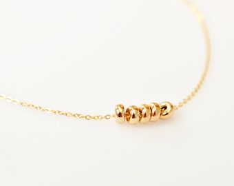 Darling Gold Beads Necklace, Dainty Gold Beads Necklace, Close To My Heart Necklace with 14K Solid Gold Beads