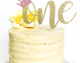 One Cake Topper • Birthday Cake Topper • Gold Glitter Crown Topper • Smash Cake Topper • Number Cake Topper • First Birthday