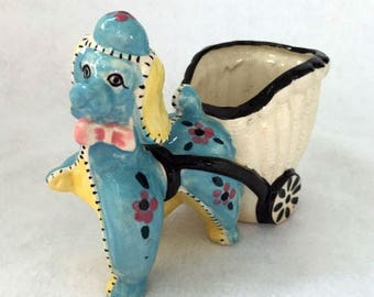 Vintage Poodle Planter with Wagon