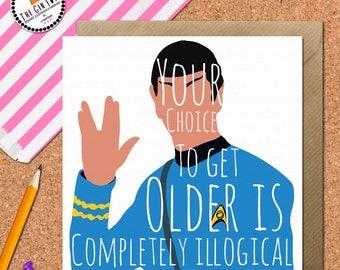 Star Trek Spock Card • Spock Birthday Card  • Star Trek Card • spock Card • Leonard Nimoy • Star Trek Birthday Card