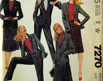 Uncut 1980s McCall's Vintage Sewing Pattern 7270, Size 10; Misses' Jacket, Skirt, and Pants