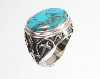 Sterling Silver and Redskin Chinese Turquoise (stabilized)  Designer Statement Ring ( RNG#4) size 9 (A)