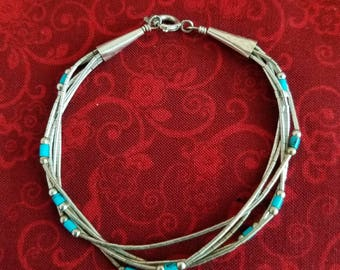 BR118 Vintage Sterling Silver Bracelet - Liquid Silver with Small Turquoise Beads