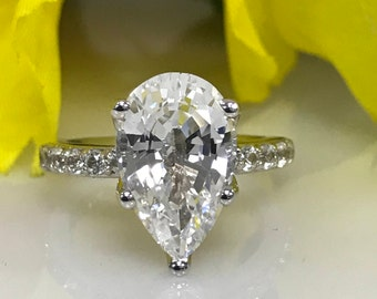 Pear Shape White Sapphire Wedding Engagement Promise Ring 6.50 14k Gold #5067