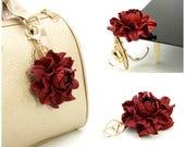 "2 in 1 : Table BAG hanger hook + Flower BAG CHARM | Deep red purse pendant, handbag folding table holder hook, bag flower 3"" gold hardware"