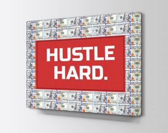 Money Art - Motivational Canvas - Motivation Canvas - Hustle Canvas - 100 Dollar bill art - 100 dollar bill canvas