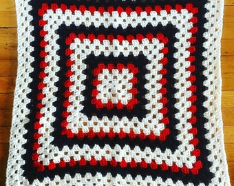 Americana Crocheted Baby Blanket, Granny Square Crochet