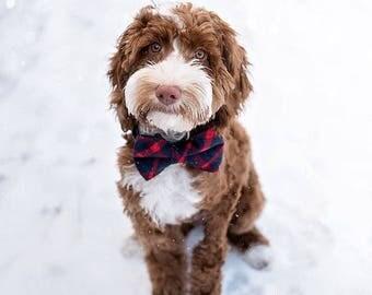 Tartan Dog Collar, Navy Tartan Dog Collar, Dog Bow, Tartan Cat Collar, Red Tartan Cat Bow, Rose Gold Collar, Winter Trend, Boy Dog Collar