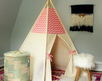 Pink/White Chevron Teepee WITH POLES (kids teepee, childrens teepee, tipi, playtent, wigwam, childrens decor)